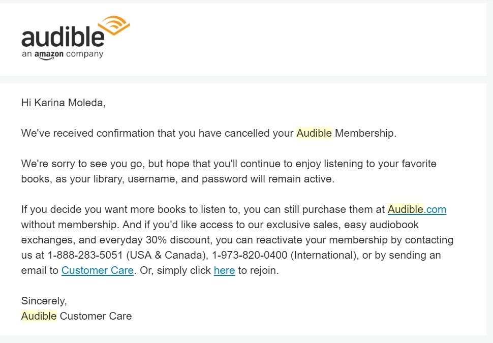 Rezygnacja z usługi Amazon - mail pożegnalny